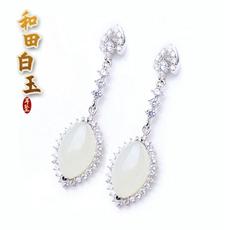 925银镶宝石系列饰品★天然和田玉白玉耳坠★女士最爱华丽晶钻