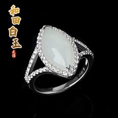 925银镶宝石系列饰品★天然和田玉白玉水滴戒指
