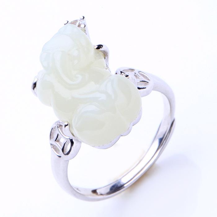 和田白玉貔貅戒指★925银镶嵌锆石皮休指环★招财旺运护身保平安之佳品