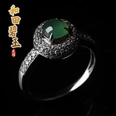 天然翡翠A货冰种满绿★925银镶镶嵌圆满戒指★蛋面镶嵌奢华高贵