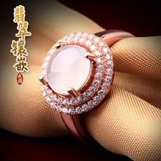 天然翡翠A货女款冰种玉戒指★925银镶嵌翡翠蛋面指环★时尚典雅饰品