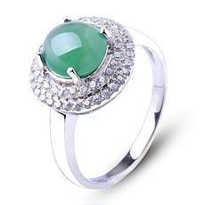 天然翡翠A货女款冰种满绿玉戒指★925银镶嵌翡翠蛋面指环★时尚典雅饰品