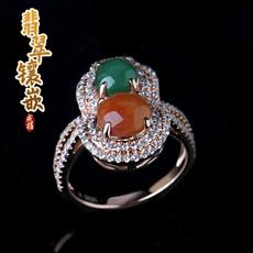 天然翡翠A货满绿红翡★925银镶嵌翡翠戒指★玫瑰金温润色泽纯洁