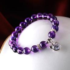 4A级天然紫水晶手链女韩版时尚12十二星座生肖925银水晶品相升级