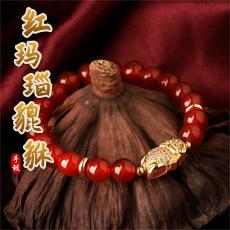 天然红玛瑙貔貅手链★精美多层大象路路通手串★时尚甜美可爱