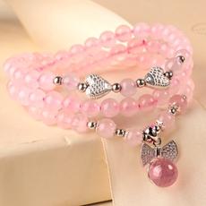 天然粉水晶多层手链★925银鱼款粉晶手串★时尚甜美可爱