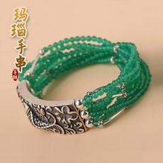 天然绿玛瑙手链★个性女式多层手链★精致璀璨吉祥