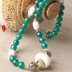 天然绿玉髓项链★绿玛瑙配白砗磲颈链