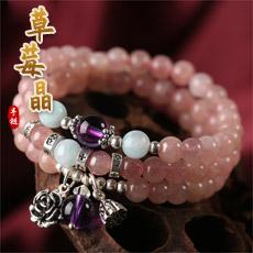 天然草莓晶多圈手链★韩版女式水晶手串饰品