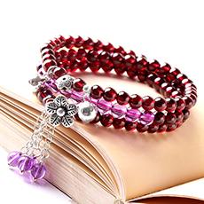 天然5.5mm石榴石手链★天然紫水晶多圈手串★时尚优雅女性饰品