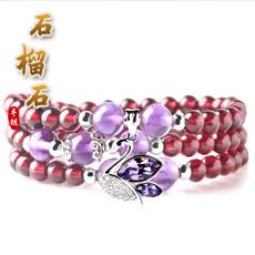 天然石榴石手链★紫水晶多圈手串★时尚优雅女性饰品