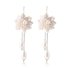 天然珍珠贝壳耳坠★925银花型长款耳饰★时尚甜美尊贵