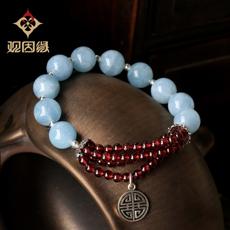 【观因缘】天然冰种海蓝宝水晶手链★女士韩版爱情石手串饰品★时尚典雅