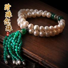 【观因缘】天然珍珠手链★时尚优雅双圈手链★韩版青金石紫水晶手串饰品