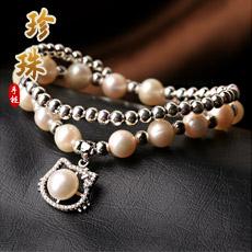 【观因缘】珍珠配银珠双圈手链★时尚kitty猫饰品★甜美可爱