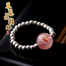 天然草莓晶配925银女士戒指★可爱甜美银指环★