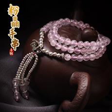 【观因缘】纯天然粉水晶手链★925纯银多层女式手串