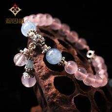 【观因缘】天然粉水晶手链★时尚女款粉晶配海蓝宝手串