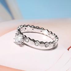 S925银镶钻旋转手环戒指★360°旋转戒心可旋转更闪耀★点缀指间现代时尚之美