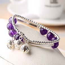 紫水晶配925银铃铛手链★时尚配饰礼品