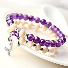 紫水晶配牛骨飞鱼坠手链★时尚配饰礼品