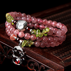 草莓晶吉祥猴多圈手链★韩版女式水晶手串饰品