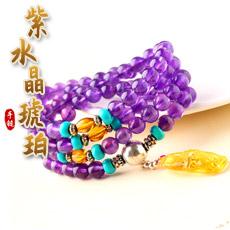天然紫水晶手链★精美琥珀多圈手串★时尚复古优雅