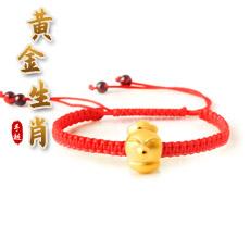 3D硬金十二生肖红色手编绳单圈黄金手链★足金属相配时尚可伸缩单圈手串