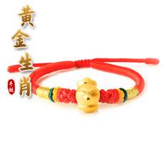 十二生肖彩色手编绳3D硬金黄金手链★足金生肖配时尚可伸缩红绳手串★单圈生肖开运流行饰品