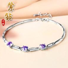 银饰手链★925银手链★紫钻款