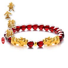 黄金石榴石貔貅手链★3D硬金工艺单圈手链★18k金路路通多款可选