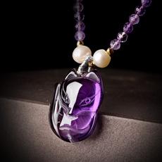 天然紫水晶狐狸项链吊坠★女款紫水晶吊坠