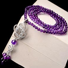 紫水晶项链★925银镶钻吊坠饰品