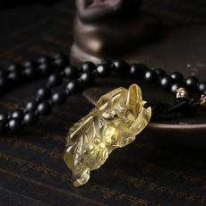 天然黄水晶貔貅吊坠★精美款皮丘饰品