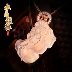 粉水晶貔貅吊坠★天然水晶皮休饰品毛衣链挂坠