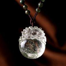 天然绿幽灵貔貅吊坠★水晶皮丘毛衣链饰品