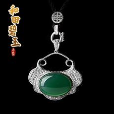925银镀铂金镶宝石系列饰品★时尚绿玛瑙玉髓吉祥平安锁★赠送精美配绳
