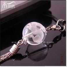 白水晶生肖兔手机链
