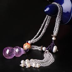 天然白水晶包挂★紫水晶葫芦吊坠饰品