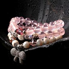 天然珍珠粉水晶多圈手链★时尚百搭女士潮流手串