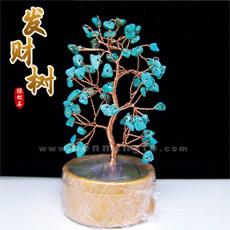 天然绿松石水晶树摇钱树