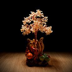 福禄寿喜水晶树摆件★黄水晶陶瓷水晶树工艺品摆件