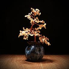 黄水晶树摆件★水晶陶瓷树工艺品摆件