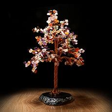 七色水晶发财树摆件★水晶七彩树工艺品摆件
