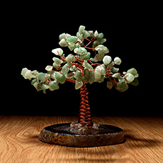 绿东陵石水晶树摆件★玛瑙水晶树摇钱树摆件