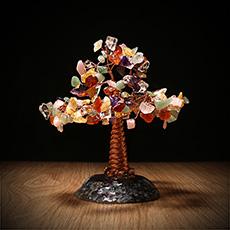 七色水晶树摆件★宝石玉石七彩树摆件