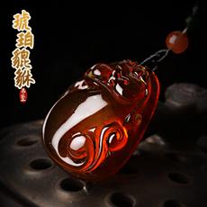 精美天然琥珀貔貅吊坠★精工雕刻蜜蜡皮休饰品