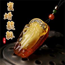 天然琥珀蜜蜡貔貅吊坠★精美波罗的海蜜蜡皮丘挂坠