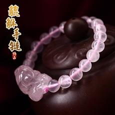 天然粉水晶貔貅手链★8mm水晶皮丘手串饰品