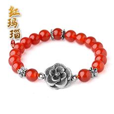 天然红玛瑙手链★银饰花开富贵女式手串
